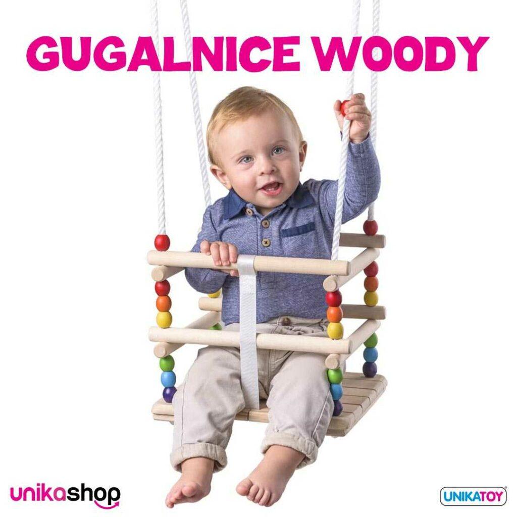 Lesena gugalnica Toddlers z ograjico, do 30 kg, Woody
