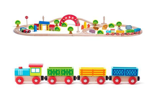 Garnitura lesenega vlaka z živalicami,Woody-Poškodovana embalaža-1