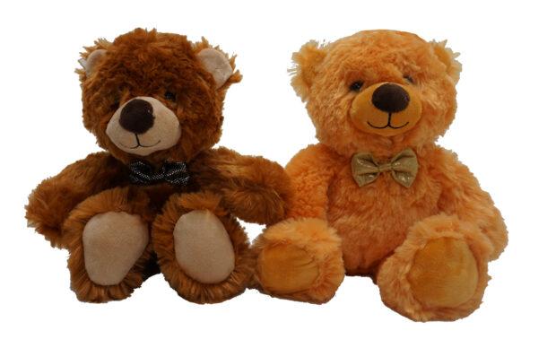 Plišasti sedeči medvedek z mašno, 25 cm